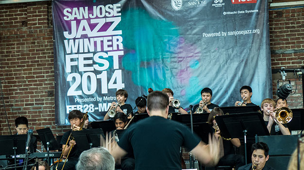 Aaron Lington leading the San Jose Jazz High School All Stars