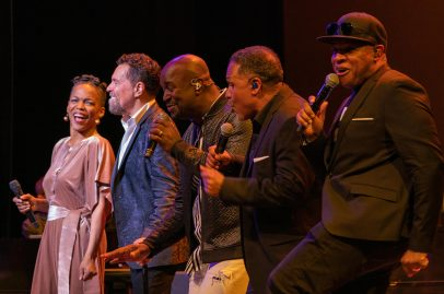 Nnenna Freelon and Take6 serenade the audience. Photo by Mark Anenberg