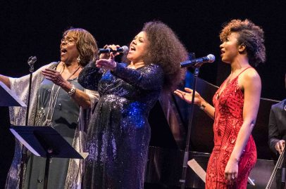 Denise Perrier, Kim Nalley and Tiffany Austin serenade the excited Winter Fest crowd. Photo by Walter Wagner