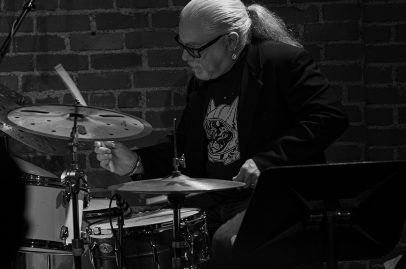 SJZ Collective's creator Wally Schnalle rocks out on the drums. Photo by Mark Anenberg