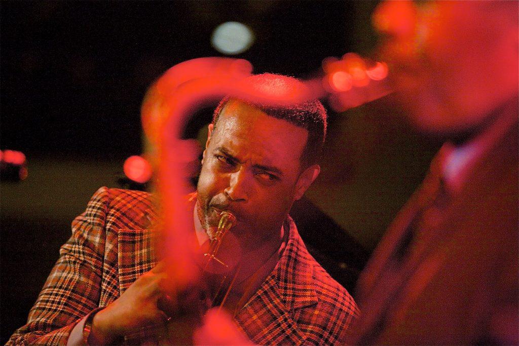 Geechi Taylor with Delfeayo Marsalis Quartet; photo by Andy Nozaka