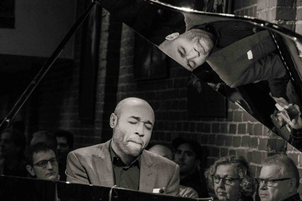 Aaron Diehl performed a solo piano set at Cafe Stritch. Photo by Walter Wagner