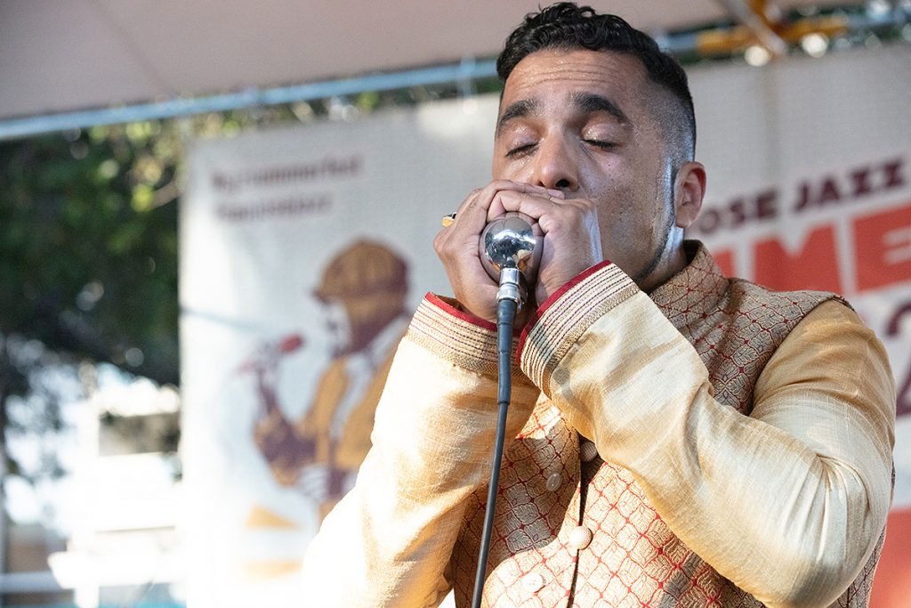 """""""The Only Bombay Blues Man"""" Aki Kumar brought his unique blues stylings to the Blues/Big Easy Stage. Photo by Robert Birnbach"""