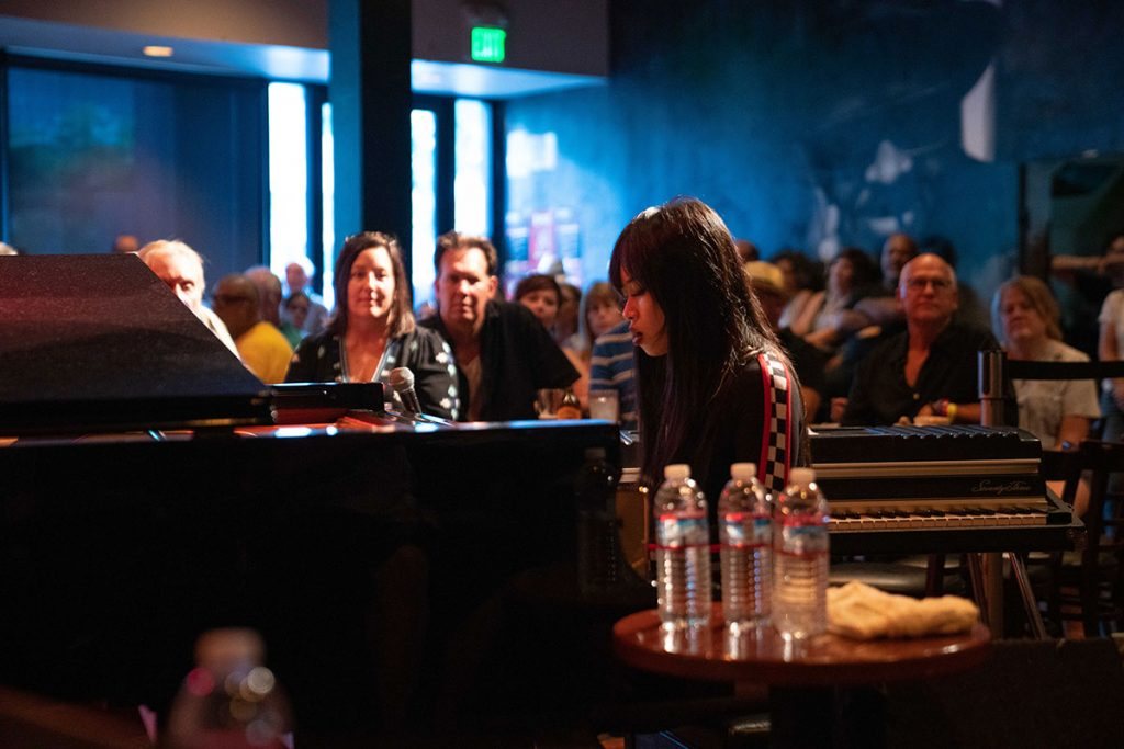 Young pianist Connie Han artfully blended traditional and modern jazz stylings for a packed house. Photo by Mark Anenberg