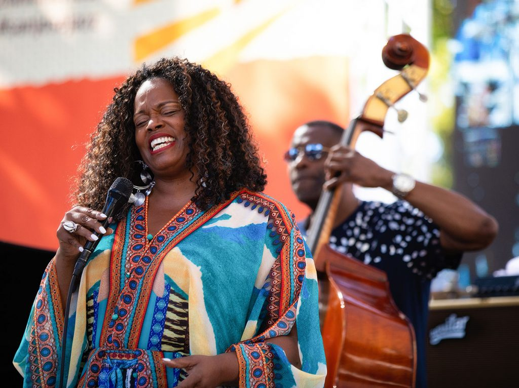 """Dianne Reeves """"came home"""" to Summer Fest for the 30th Anniversary of the fest. Photo by Robert Birnbach"""