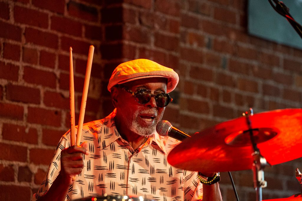 Drum legend Tootie Heath played an at-capacity set with pianist Emmet Cohen at the Cafe Stritch Stage. Photo by Tom Ehrlich