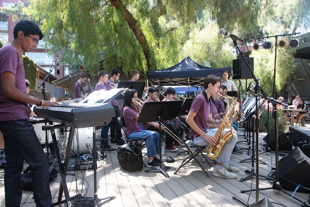 Dr. Aaron Lington led the SJZ High School All Stars big band in their big fest performance. Photo by Robert Birnbach