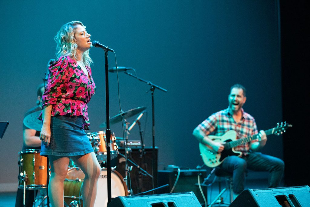 Lucy Woodward and Charlie Hunter shared the duo's taste for the funky and eclectic with fest-goers. Photo by Robert Birnbach
