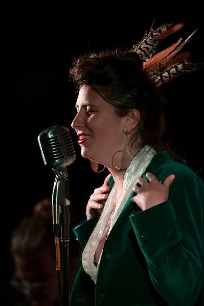 Maggie Belle Gehegan closed out the Blues/Big Easy Stage on Saturday night with her Maggie Belle Band. Photo by Ken Hunt