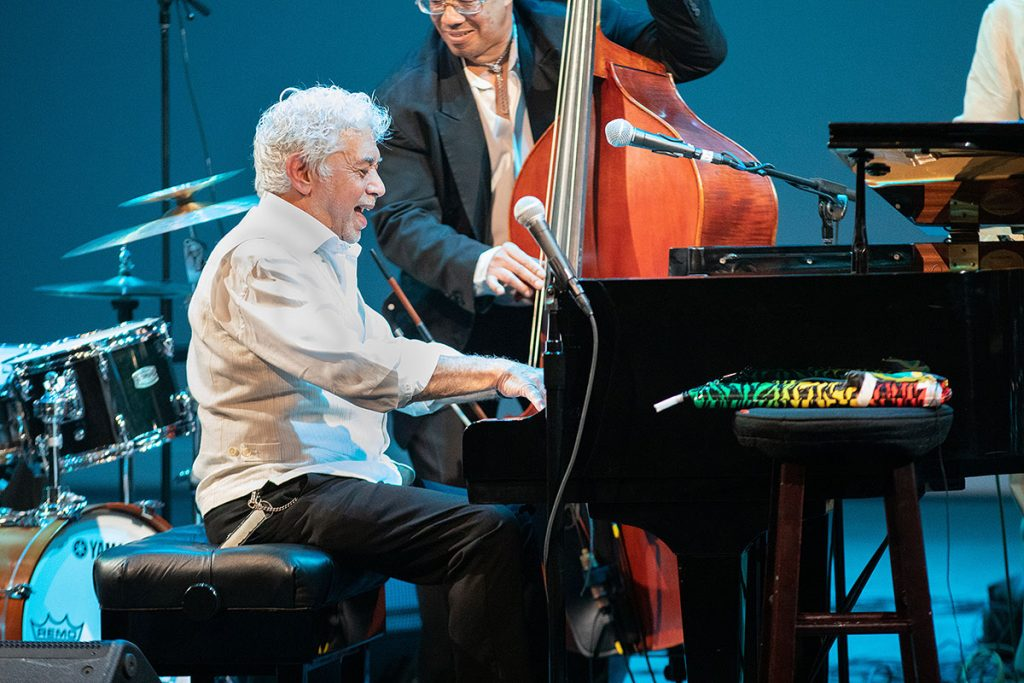 Pianist Monty Alexander gave a rousing performance during his set at the Hammer Theatre Stage. Photo by Robert Birnbach