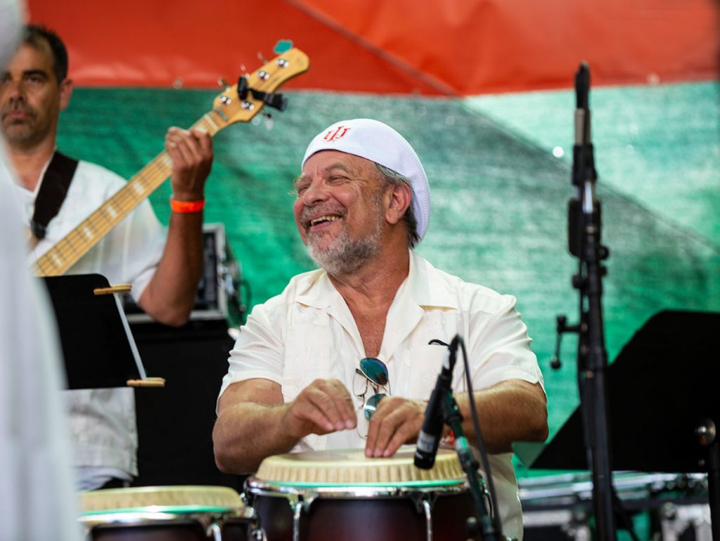 Conguero Michael Spiro performed with Orquesta La Moderna Tradición on Saturday's Salsa Stage. Photo by Tom Ehrlich