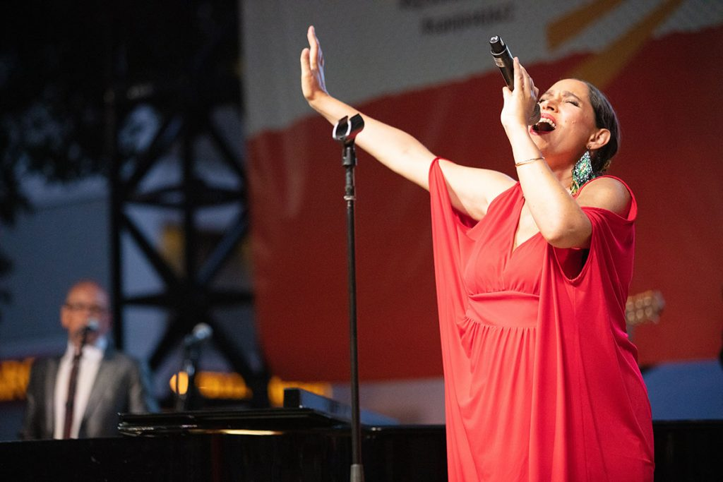 China Forbes leads Pink Martini in their Main Stage performance. Photo by Robert Birnbach