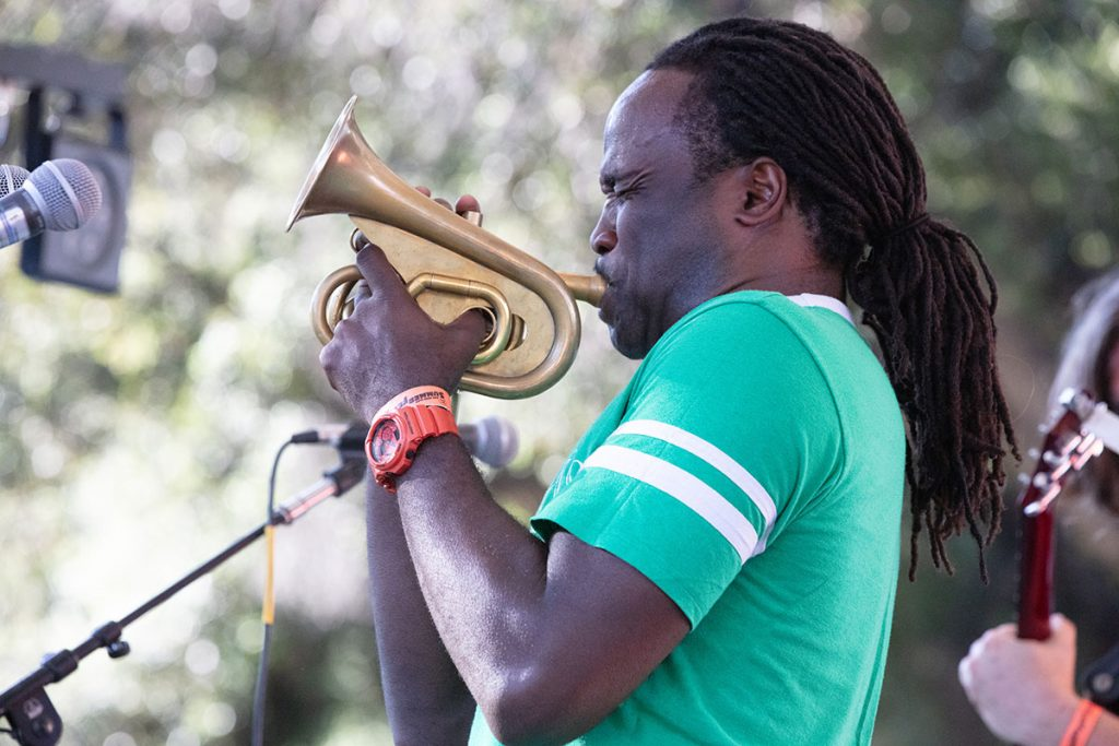 Shamarr Allen and the Underdawgs brought the New Orleans party to the Blues/Big Easy Stage. Photo by Robert Birnbach