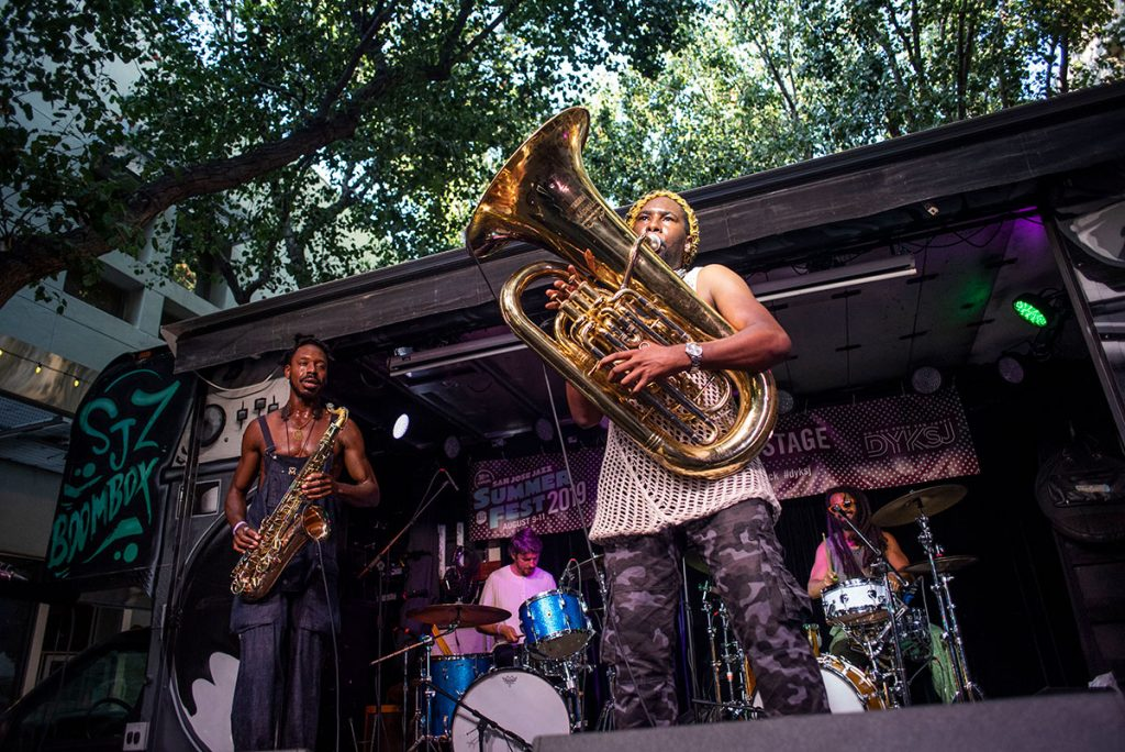 London-based Sons of Kemet on the new Jazz Beyond Stage. Photo by Daniel Garcia