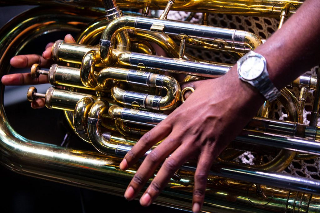 A close-up of Sons of Kemet's Theon_Cross's spectacular tuba, which he performed in very spectacular and non-traditional ways.