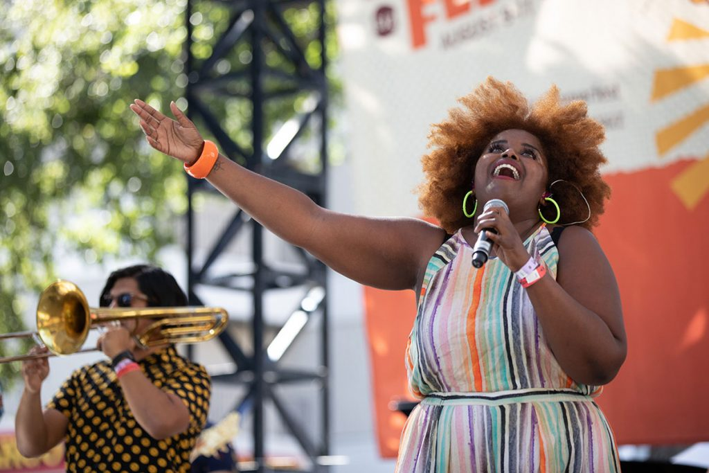 The eight-piece The Suffers brought their high energy performance to their Main Stage set. Photo by Robert Birnbach