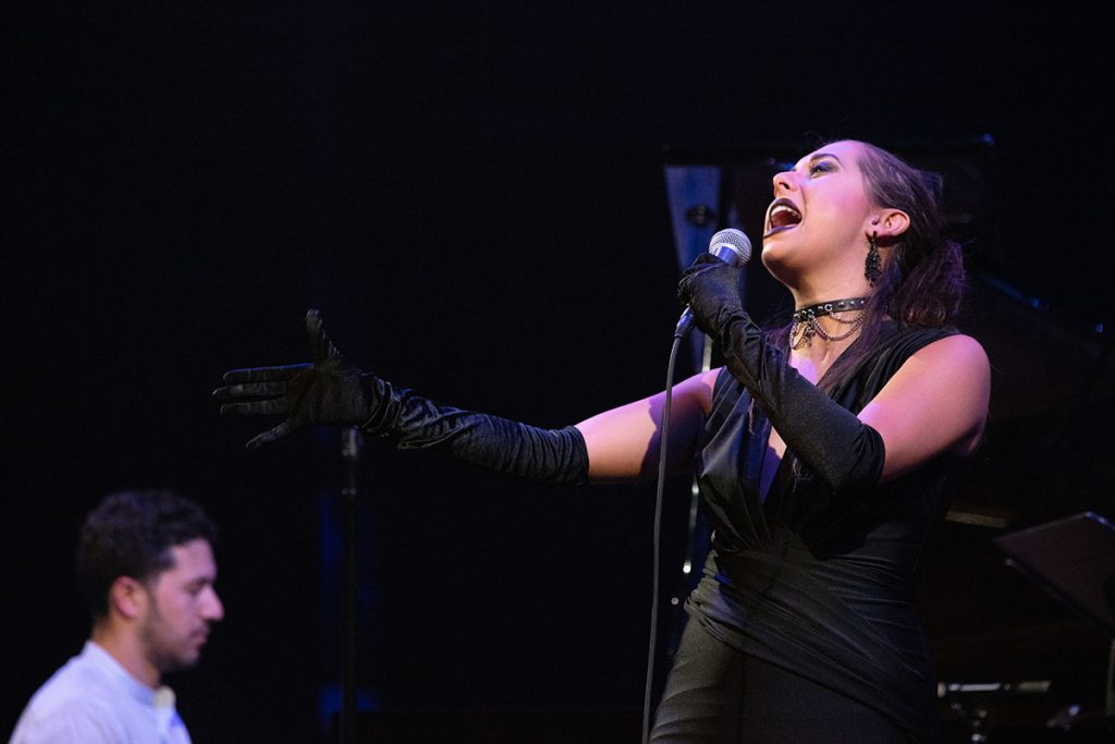 One of the top jazz singers on the scene, Veronica Swift delivered a rousing set with pianist Emmet Cohen. Photo by Robert Birnbach