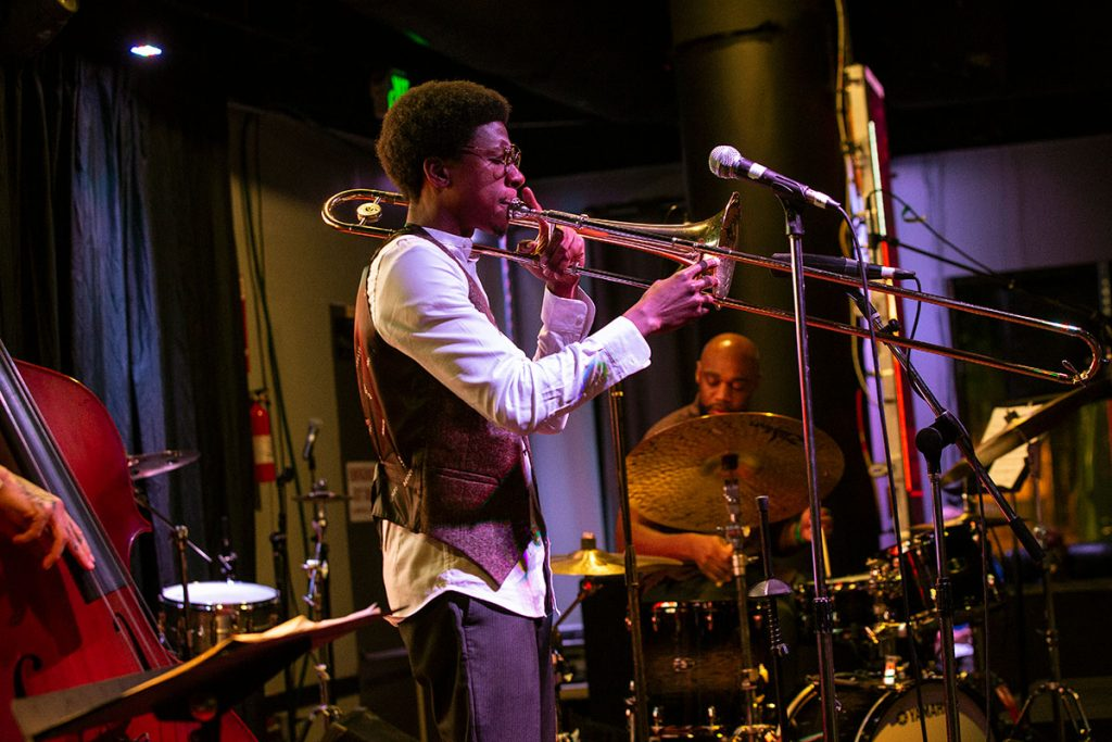 David L. Harris' set on the Inca Azteca Stage on Friday night embodied the edge of modern jazz and the sultriness of blues. Photo by Tom Ehrlich